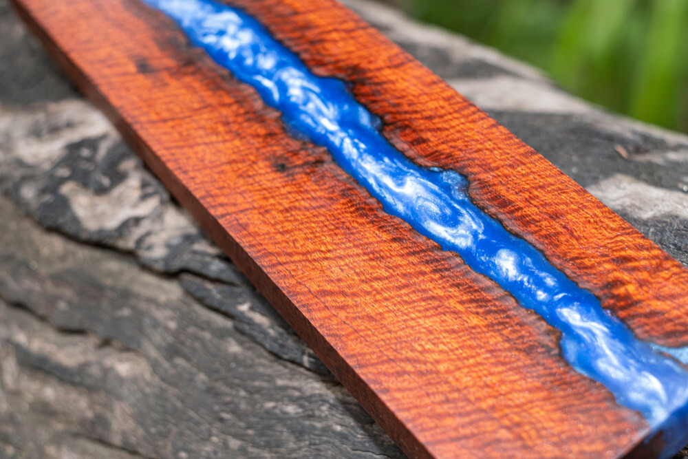 Blue Epoxy Resin with Wood